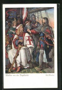 Künstler-AK sign. Ed. Ille: Walther von der Vogelweide mit Herzog Friedrich von Österreich als Kreuzfahrer