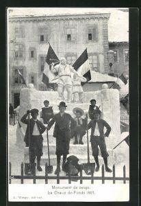 AK La Chaux de Fonds, Monument de neige 1907, Eisplastik