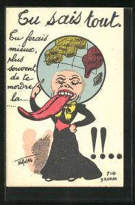Künstler-AK Philippe Norwins: Tu sais tout, Frau mit Erdkugel als Kopf und langer Zunge