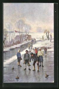 Künstler-AK Wintersportler beim Curling