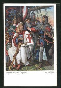 Künstler-AK sign. Ed. Ille: Walther von der Vogelweide als Kreuzfahrer