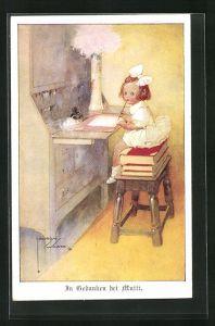 Künstler-AK Lawson Wood: In Gedanken bei Mutti, kleines Mädchen schreibt Brief