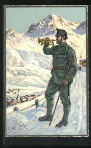 Künstler-AK sign. E. Hodel: Trompeters Morgenlied, schweizer Militär