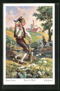 Künstler-AK sign. C. Hinke: Brüder Grimm, Hans im Glück, 1. Hans hatte sieben Jahre seinem Herrn gedient...