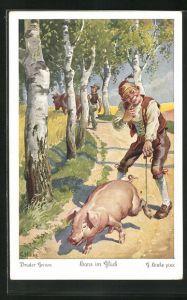 Künstler-AK sign. C. Hinke: Brüder Grimm, Hans im Glück, 4. Glücklich zog Hans mit seinem Schwein...