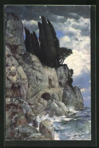 Künstler-AK Eduard Rüdisühli: Piratenriff, Felsenküste