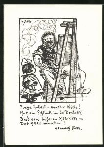 Künstler-AK Heinrich Zille: Zitat und Selbstportrait des Künstlers