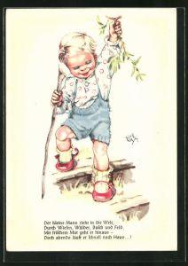 Künstler-AK Hilla Peyk: Der kleine Mann zieht in die Welt...