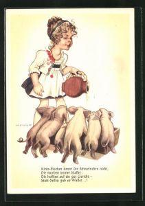 Künstler-AK Hilla Peyk: Klein-Elschen kennt die Schweinchen nicht...
