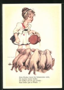Künstler-AK Hilla Peyk: Klein-Elschen kennt die Schweinchen nicht, die wurden immer blasser..., Scherz