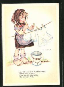 Künstler-AK Hilla Peyk: Ja, - ich kann schon Wäsche waschen...