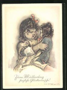 Künstler-AK Hilla Peyk: Zum Muttertag herzliche Glückwünsche!, Puppenmutter