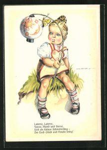 Künstler-AK Hilla Peyk: Laterne, Laterne, Sonne, Mond und Sterne..., Mädchen