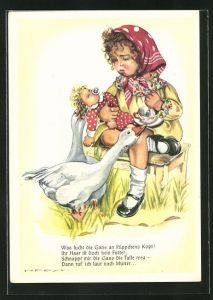 Künstler-AK Hilla Peyk: Was sucht die Gans an Püppchen`s Kopf?..., Puppenmutter