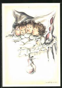 Künstler-AK Hilla Peyk: vier Kleinkinder im Bett
