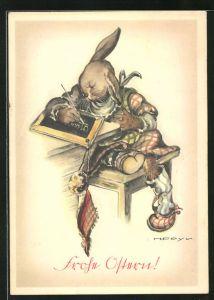 Künstler-AK Hilla Peyk: Frohe Ostern!, Osterhase in der Schule