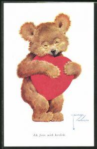 Künstler-AK Lawson Wood: Ich freue mich herzlich, Teddybär