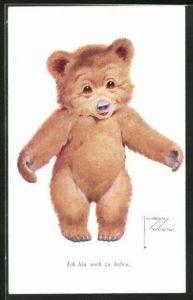 Künstler-AK Lawson Wood: Ich bin noch zu haben, Teddybär