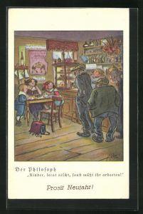 Künstler-AK Heinrich Zille: Der Philosoph, Kinder, lernt nischt, sonst müsst ihr arbeeten!