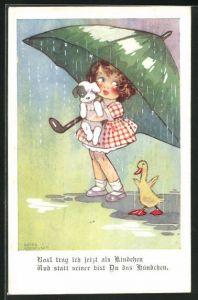 Künstler-AK Agnes Richardson: Box`l trage ich jetzt als Kindchen..., Mädchen mit Hund und Gänseküken