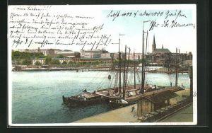 AK Stettin, Blick vom Hafen auf die Stadt