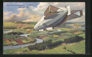 AK Graf Zeppelins Luftschiff über dem Rheintal