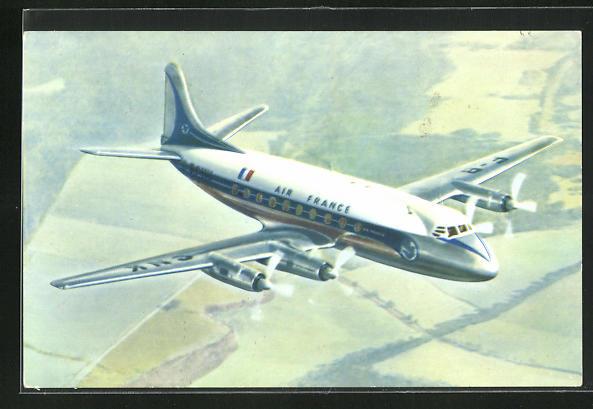 AK Flugzeug Vickers Viscount der Air France