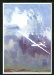Künstler-AK Schweizer Segelflugzeug vor Gewitterwolken