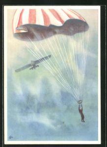 Künstler-AK Fallschirmspringer mit geöffnetem Schirm