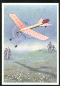Künstler-AK Modellflugzeug Autoplan, Modell mit Pressluftmotor