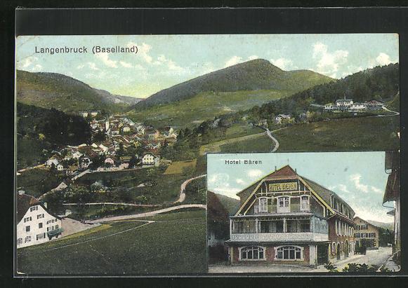 AK Langenbruck / Baselland, Hotel Bären, Panoramablick auf den Ort