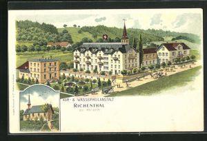 Lithographie Richenthal, Kur- und Wasserheilanstalt, Blick zur Kirche
