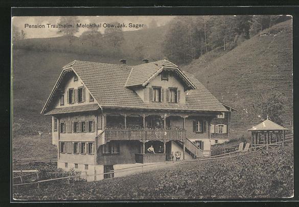 AK Melchthal / Obw., Hotel Pension Trautheim von J. Sager