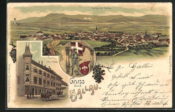 Lithographie Hallau, Ansicht vom Hotel Falken, Ortsansicht