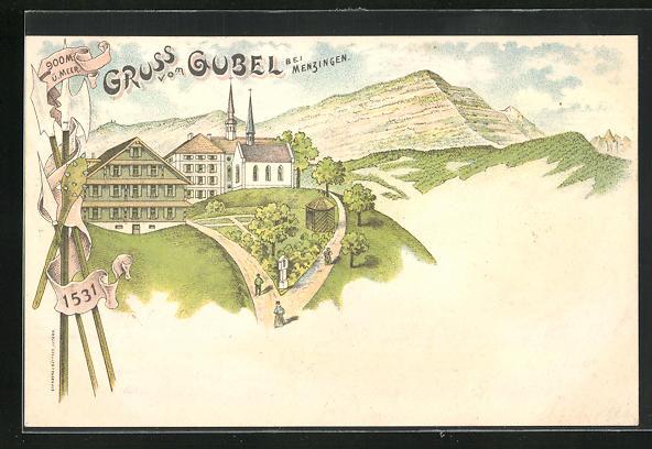Lithographie Menzingen, Kapuzinerinnenkloster Maria Hilf auf dem Gubel