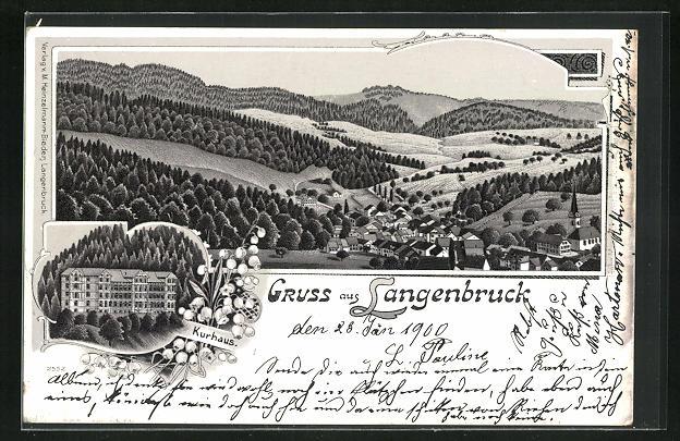 Lithographie Langenbruck, Ansicht vom Hotel Kurhaus, Panoramablick auf den Ort und ins Land