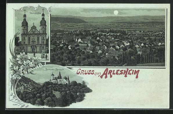 Mondschein-Lithographie Arlesheim, Domkirche, Schloss Birseck, Ortsansicht