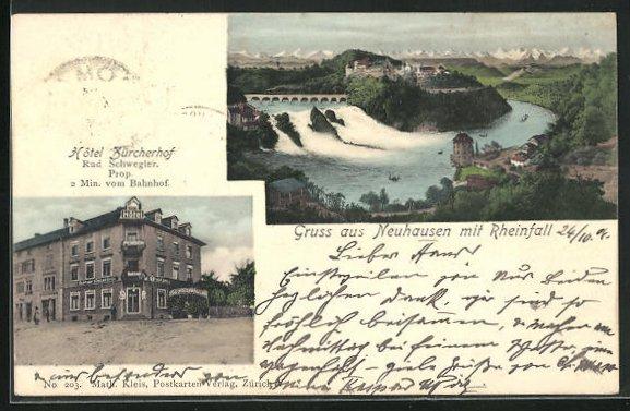 AK Neuhausen, Hotel Zürcherhof, Blick auf den Rheinfall