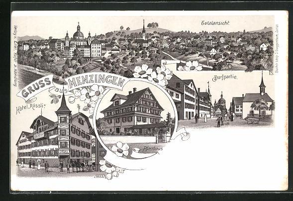 Lithographie Menzingen, Hotel Rössli, Pfarrhaus, Strassenpartie im Ort
