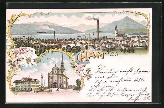 Lithographie Cham, Panorama und Kirche