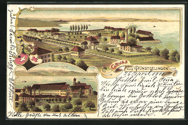 Lithographie Münsterlingen, Totale und Canton-Spital