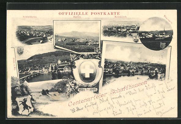 AK Schaffhausen, Centenarfeier, Ortspartien, Bergpanorama