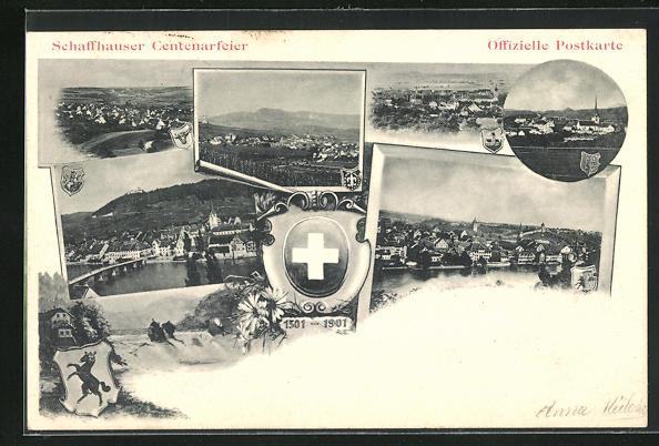 AK Schaffhausen, Centenarfeier, Ortspartien, Wappen