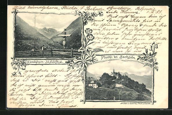 AK Flüeli, Teilansicht mit Jesuskreuz, Ansicht Nünalphorn-Melchthal