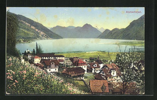 AK Alpnachstad, Blick von der Blumenwiese auf den Ort