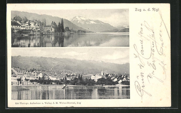 AK Zug, verschiedene Ortspanorama am Seeufer
