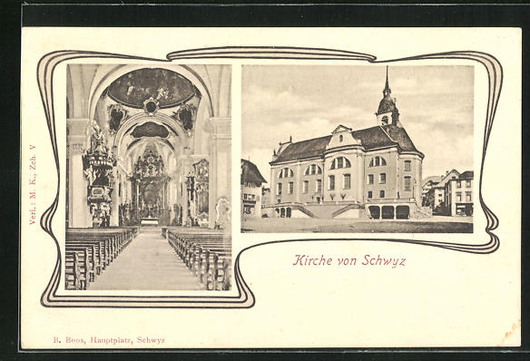 AK Schwyz, Kirche, Aussen- und Innenansicht