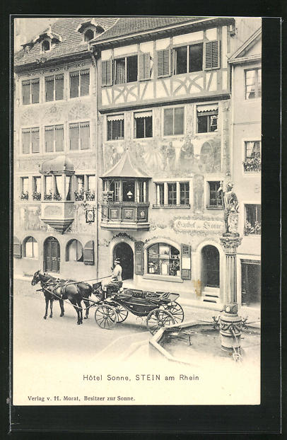 AK Stein am Rhein, Hotel Sonne mit Pferdewagen