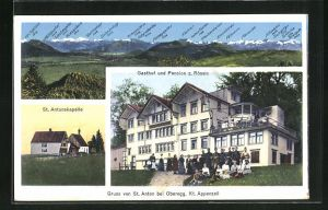 AK St. Anton, Gasthof und Pension z. Rössle, St. Antonskapelle, Panorama mit Kamor, Marwies, Fähnern