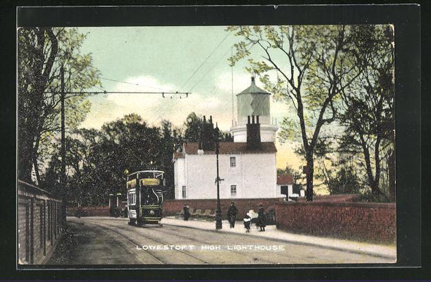 AK Lowestoft, High Street, Lighthouse, Srassenbahn